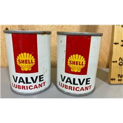 LOT OF 2 SHELL 4 OZ LUBRICANT TINS - FULL
