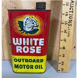 WHITE ROSE OUTBOARD MOTOR OIL TIN - FULL
