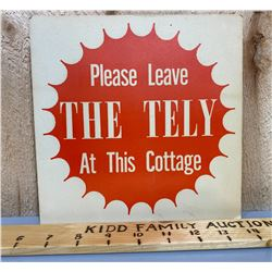 'THE TELY' CARDBOARD SIGN