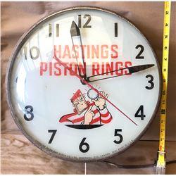 HASTINGS PISTON RINGS ILLUMINATED CLOCK