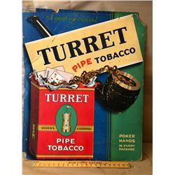 TURRET PIPE TOBACCO CARDBOARD SIGN