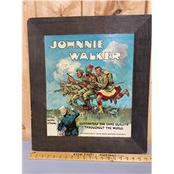 JOHNNY WALKER DISTILLERY MOUNTED POSTER - WWII ERA