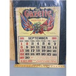 ONE PAGE OF THE 1901 MONTREAL GAZETTE NEWSPAPER CALENDAR