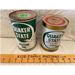 LOT OF 2 QUAKER STATE OIL CANS - FULL