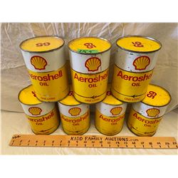LOT OF 7 AERO SHELL OIL CANS - FULL 1 L SIZE