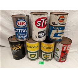LOT OF 7 MISC OIL CANS