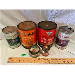 LOT OF 6 CANADIAN TIRE OIL CANS - MOST FULL
