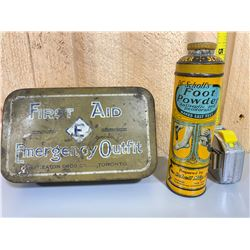 LOT OF 2 VINTAGE TINS - T EATON'S FIRST AID & DR SCHOLL'S