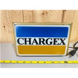 "1970'S CHARGEX ILLUMINATING SIGN - 3"" X 5"" X 9"""