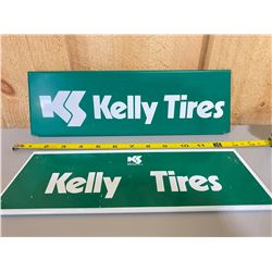 """LOT OF 2 METAL KELLY TIRE DISPLAY STAND SIGNS - 12"""""""