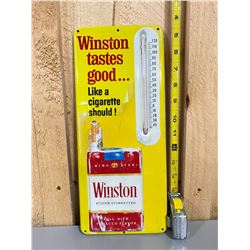 1960's WINSTON CIGARETTES THERMOMETER ON 3D TIN SIGN