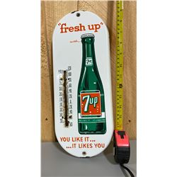 7UP PORCELAIN SIGN WITH THERMOMETER - 1950's