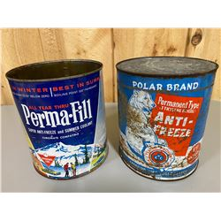 LOT OF 2 CANADIAN TIRE ANTI-FREEZE 1 GAL CANS