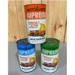 LOT OF 3 MOTOMASTER SUPREME OIL CANS - FULL 1 QT SIZE
