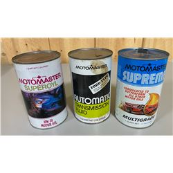 LOT OF 3 MISC MOTOMASTER OIL CANS