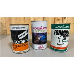 LOT OF 3 MOTOMASTER OIL CANS