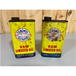 LOT OF 2 TORONTO ELEVATORS LINSEED OIL CANS