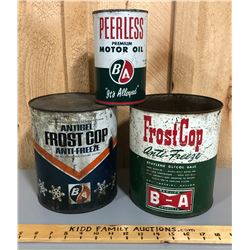 LOT OF 3 BA OIL / ANTI-FREEZE CANS