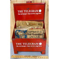 THE TELEGRAM NEWSPAPER BOX WITH ORIGINAL EDITIONS