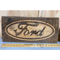CARVED WOODEN FORD SIGN