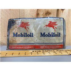 MOBILOIL FLATTENED OIL CAN SIGN