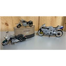 LOT OF 3 TOY MOTORCYCLES