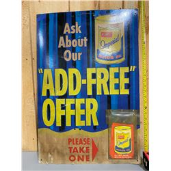 ATLANTIC MOTOR OIL CARDBOARD DEALER SIGN