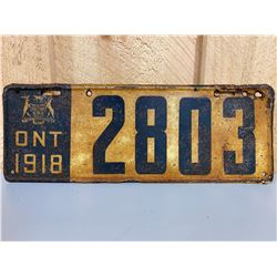 1918 ONTARIO LICENCE PLATE