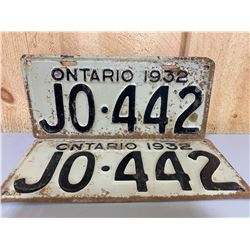 PAIR OF 1932 ONTARIO LICENCE PLATES
