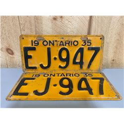 PAIR OF 1935 ONTARIO LICENCE PLATES