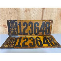 PAIR OF 1919 ONTARIO LICENCE PLATES
