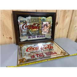 LOT OF 2 COCA-COLA THEMED BAR MIRRORS