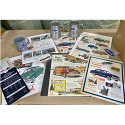 FORD COLLECTIBLES LOT - ADS, STEINS, KEY CHAINS