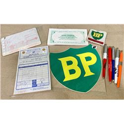 LOT OF BP COLLECTIBLES - DECAL, PENS, ETC