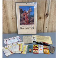 LOT OF SHELL COLLECTIBLES - CALENDAR, OPENER, PENS, MATCHES, ETC
