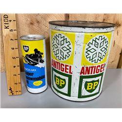LOT OF 2 BP TINS - ANTI-FREEZE & SNOWMOBILE OIL