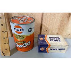 GULF WRAP CAN & EMPTY GULT SPARK PLUG BOX