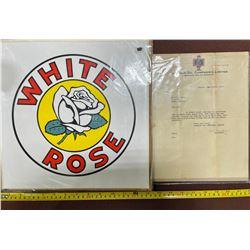 LOT OF 2 WHITE ROSE MEMORABILIA - STICKER & DEALER 1937 LETTER