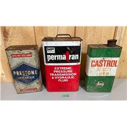 LOT OF 3 OIL CANS - MF 2 GAL. CASTROL & PRESTONE 1 GAL
