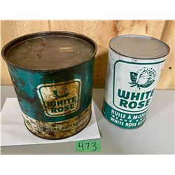 LOT OF 2 WHITE ROSE CANS - 5 LB GUN GREASE W/ CONTENTS & 1 QT CAN