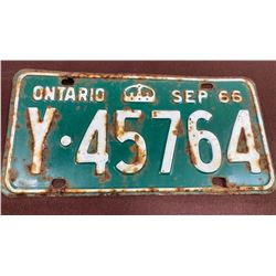 1966 ONTARIO LICENCE PLATE