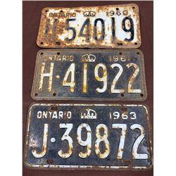 1960-1963 ONTARIO LOCENCE PLATES