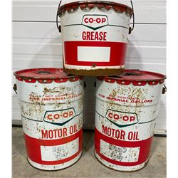 LOT OF 3 CO-OP OIL / GREASE PAILS