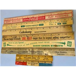 QTY OF WOODEN ADVERTISING RULERS - COKE, DODGE, ETC