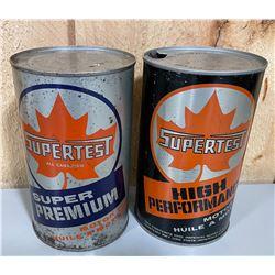LOT OF 2 SUPERTEST CANS - 1 FULL - 1 QT SIZE