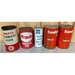LOT OF 5 MISC OIL CANS