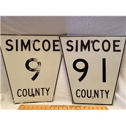 LOT OF 2 ROAD SIGNS - SIMCOE 9 & 91