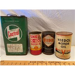 LOT OF 4 MISC OIL CANS - CASTROL, VEDOL, SHELL