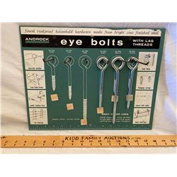 HARDWARE STORE DISPLAY - ANDROCK EYE BOLTS W/ CONTENTS