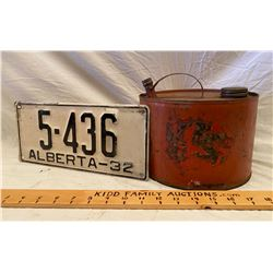 1932 ALBERTA LICENCE PLATE & VINTAGE FUEL CAN